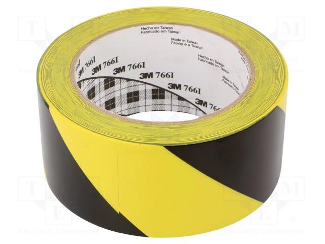 Желто-черная предупреждающая виниловая лента